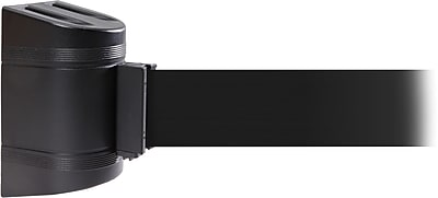 WallPro 450 Black Wall Mount Belt Barrier with 30' Black Belt