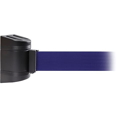 WallPro 450 Black Wall Mount Belt Barrier with 15' Blue Belt