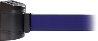 WallPro 450 Black Wall Mount Belt Barrier with 20' Blue Belt