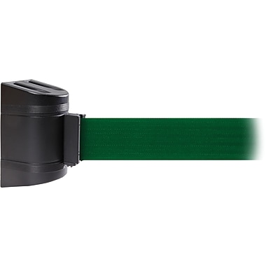 WallPro 450 Black Wall Mount Belt Barrier with 30' Green Belt