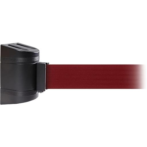 WallPro 450 Black Wall Mount Belt Barrier with 30' Maroon Belt