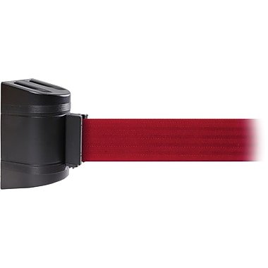 WallPro 450 Black Wall Mount Belt Barrier with 20' Red Belt