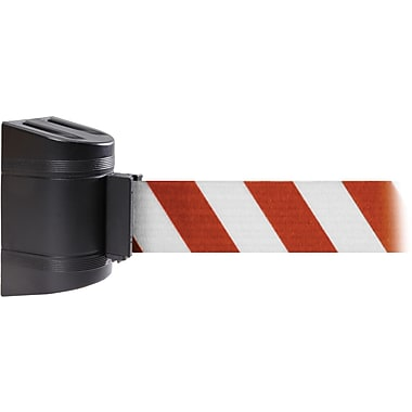 WallPro 450 Black Wall Mount Belt Barrier with 20' Red/White Belt