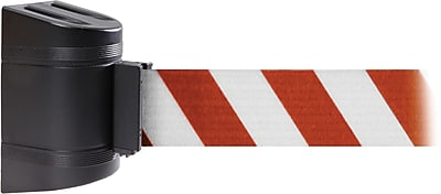 WallPro 450 Black Wall Mount Belt Barrier with 30' Red/White Belt