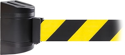 WallPro 450 Black Wall Mount Belt Barrier with 30' Yellow/Black Belt