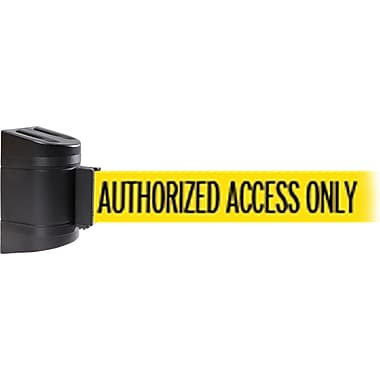 WallPro 450 Black Wall Mount Belt Barrier with 30' Yellow/Black AUTHORIZED Belt