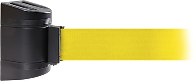WallPro 450 Black Wall Mount Belt Barrier with 15' Yellow Belt