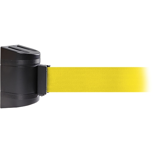 WallPro 450 Black Wall Mount Belt Barrier with 30' Yellow Belt