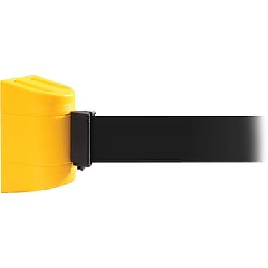 WallPro 450 Yellow Wall Mount Belt Barrier with 20' Black Belt