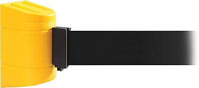 WallPro 450 Yellow Wall Mount Belt Barrier with 30' Black Belt