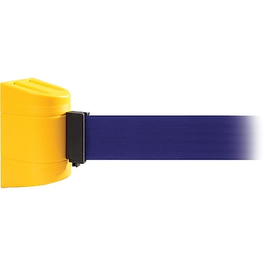 WallPro 450 Yellow Wall Mount Belt Barrier with 20' Blue Belt