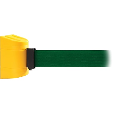 WallPro 450 Yellow Wall Mount Belt Barrier with 15' Green Belt