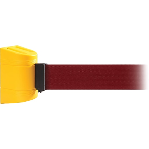 WallPro 450 Yellow Wall Mount Belt Barrier with 20' Maroon Belt