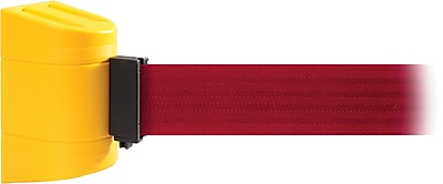 WallPro 450 Yellow Wall Mount Belt Barrier with 15' Red Belt