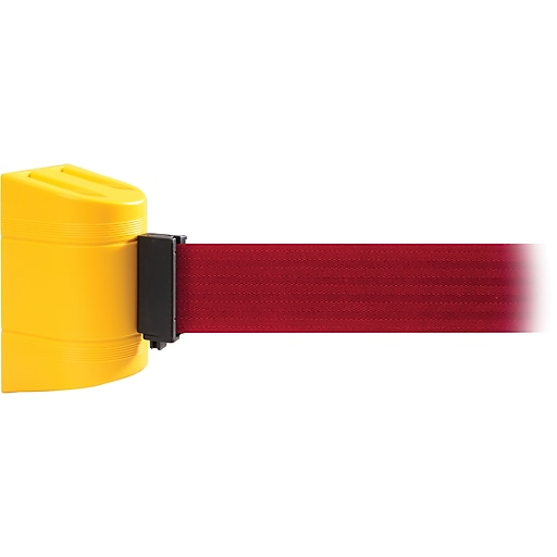 WallPro 450 Yellow Wall Mount Belt Barrier with 30' Red Belt