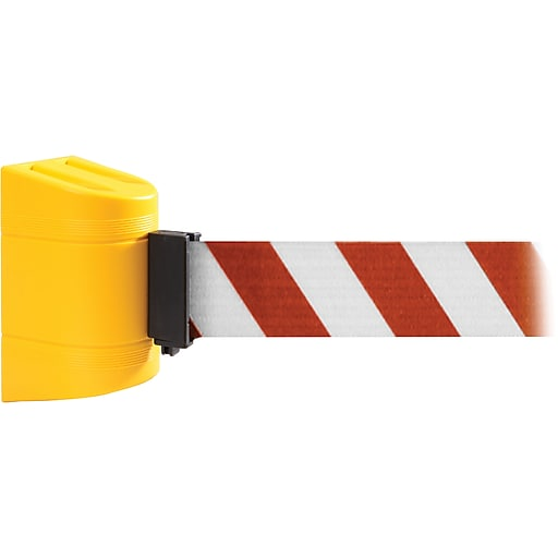 WallPro 450 Yellow Wall Mount Belt Barrier with 20' Red/White Belt