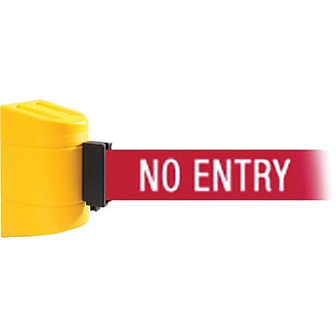 WallPro 450 Yellow Wall Mount Belt Barrier with 15' Red/White NO ENTRY Belt