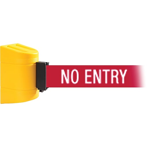 WallPro 450 Yellow Wall Mount Belt Barrier with 20' Red/White NO ENTRY Belt