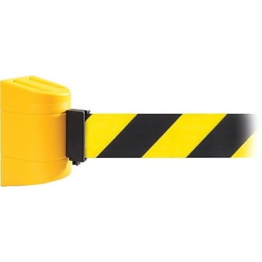 WallPro 450 Yellow Wall Mount Belt Barrier with 30' Yellow/Black Belt