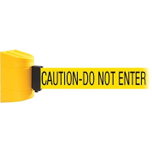 WallPro 450 Yellow Wall Mount Belt Barrier with 15' Yellow/Black CAUTION Belt