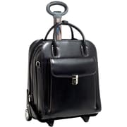 McKlein W Series, LA GRANGE, Genuine Cowhide Leather, Patented Detachable -Wheeled Ladies' Laptop Briefcase, Black (96495)