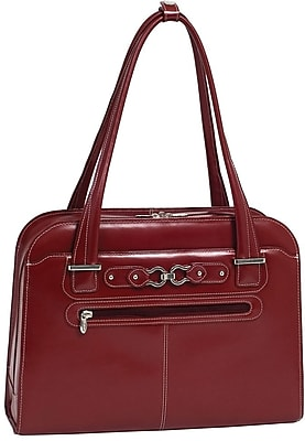McKlein Oak Grove, Fly-Through Checkpoint-Friendly Ladies' Laptop Briefcase, Top Grain Cowhide Leather, Red (96636)