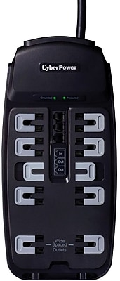 Cyberpower® CSP1008T 10-Outlet 2850 Joule Professional Surge Protector With 8' Cord