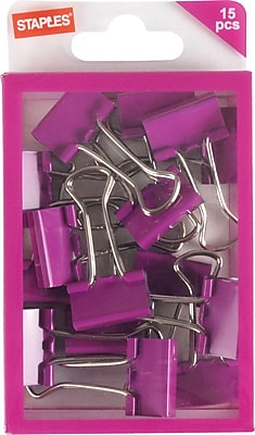 Staples® Small Binder Clips, Pink, 15ct