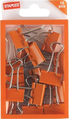 Staples® Small Binder Clips, Orange, 15ct