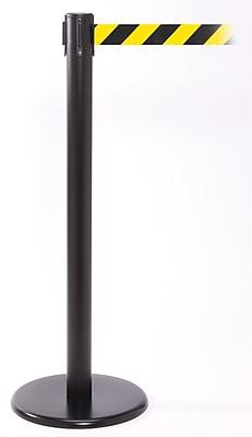 QPro 250 Black Stanchion Barrier Post with Retractable 11' Black/Yellow Belt