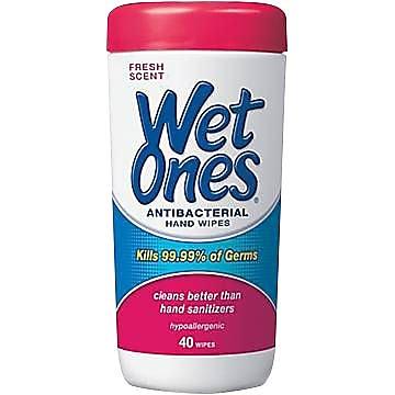 Wet Ones® Antibacterial Hand Wipes, 40 Wipes/Tub