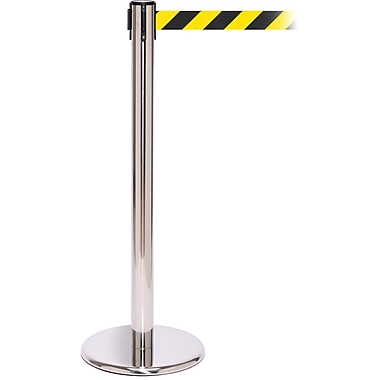 QPro 250 Polished Stainless Steel Stanchion Barrier Post with Retractable 11' Black/Yellow Belt