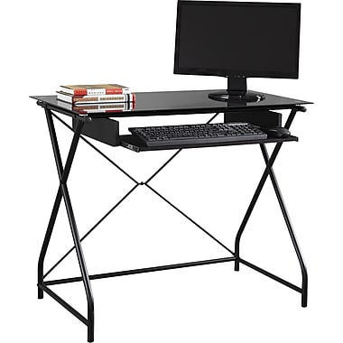 Easy2go Glass Top Computer Desk Staples