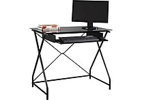 Easy2Go Glass Top Computer Desk