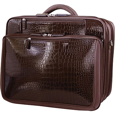 Francine Collection Croco Rolling Laptop Case, Brown