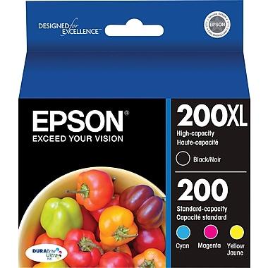 Epson 200XL/200 High Yield Black & Standard Color C/M/Y Ink Cartridges (T200XL-BCS), Combo 4/Pack