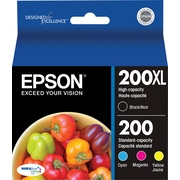 Epson® 200XL/200 Black High Yield & Standard Color C/M/Y Ink Cartridges (T200XL-BCS), Multi-pack (4 cart per pack)