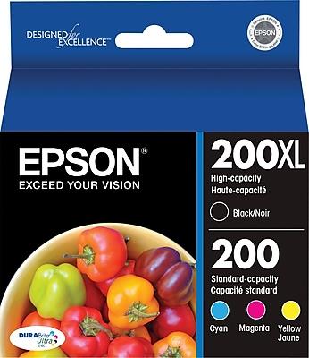 Epson® 200XL/200 Black High Yield & Standard Color C/M/Y Ink Cartridges (T200XL-BCS), Multi-pack (4 cart per pack)
