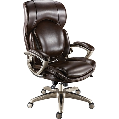 Staples Air High Back Bonded Leather Managers Chair Chocolate