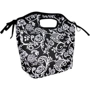 Fit & Fresh Newport Insulated Designer Lunch Bag with Ice Pack -Black & White Floral