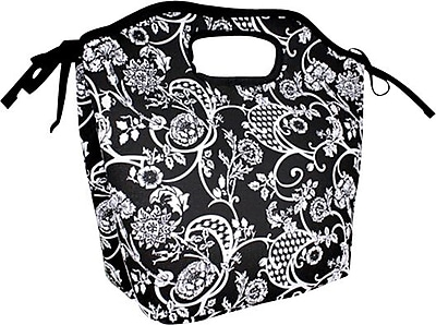Fit & Fresh Newport Insulated Designer Lunch Bag with Ice Pack, Black & White Floral