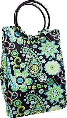 Fit & Fresh Retro Insulated Designer Lunch Bag with Ice Pack, Green Paisley