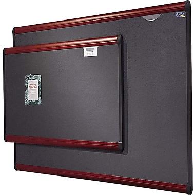 Quartet® 6' x 4' Prestige® Gray Diamond Mesh Fabric Bulletin Board with Mahogany Finish Frame
