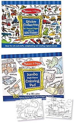 Melissa & Doug Boys Coloring / Sticker Pad Bundle (1603)
