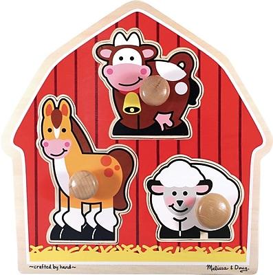 Melissa & Doug Barnyard Animals Jumbo Knob Puzzle - 3 Pieces (2054)