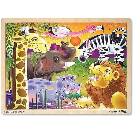 Melissa & Doug African Plains Wooden Jigsaw Puzzle - 24 Pieces (2937)