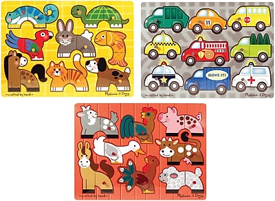 Melissa & Doug Deluxe Mix 'n Match Peg Puzzle 3 Pack Bundle (3240)