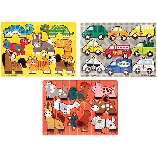 Melissa & Doug Deluxe Mix 'n Match Peg Puzzle 3 Pack Bundle (3240)