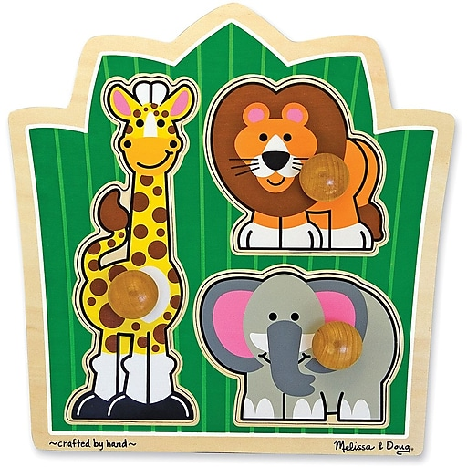 Melissa & Doug Jungle Friends Jumbo Knob Puzzle - 3 Pieces (3375)