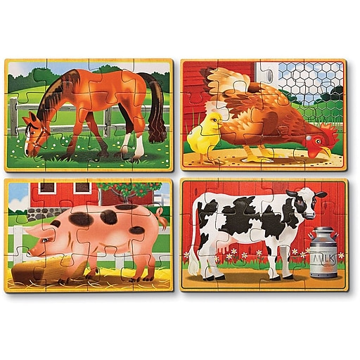 Melissa & Doug Farm Animals Jigsaw Puzzles in a Box (3793)